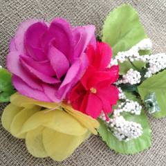 SUMMER RAINBOW FLOWER BOUQUET colourful bright spring brooch clip butterfly ooak