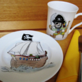 Hand painted Pirate Plate and mug for a young lad