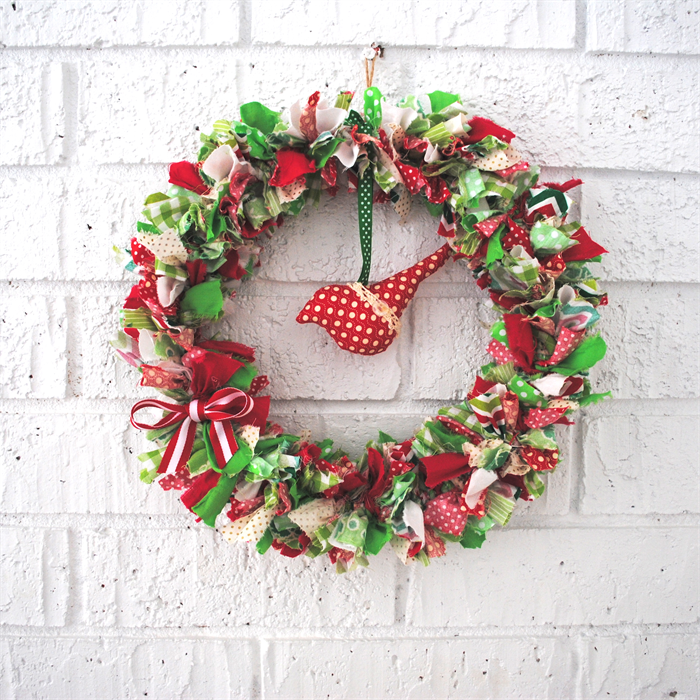 Birdie Fabric Christmas Wreath Decoration Hanging
