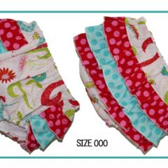 SIZE 000 - Swirly Birds Ruffle Bum Panties