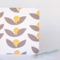 Fabric Greeting Card - yellow and grey flowers