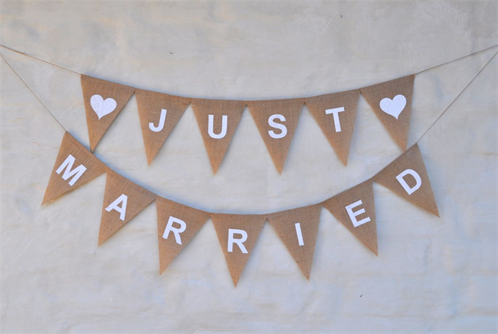 JUST MARRIED Hessian Burlap Wedding Celebration Party Banner ...