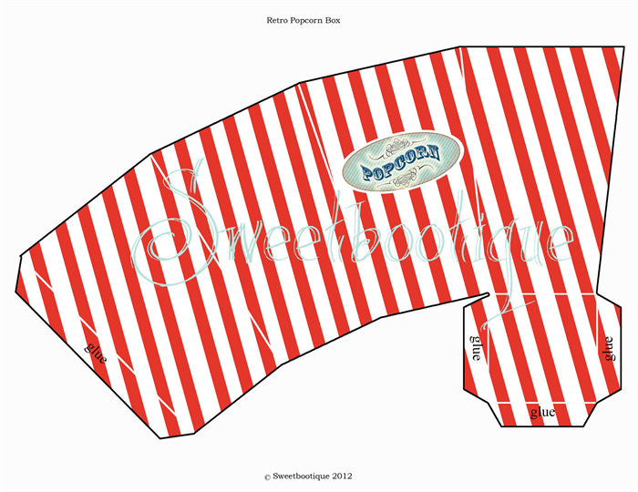 picture regarding Printable Popcorn Boxes known as Popcorn Box - Carnival, Circus, Seashore, Video - Printable