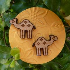 Camel Laser Cut Wooden Earrings