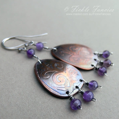 Mixed Metal Etched Copper and Amethyst Teardrop Earrings