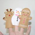 Christmas Finger Puppets Snowman Reindeer Gingerbread