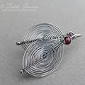 Herringbone Weave Silver and Garnet Leaf Earrings