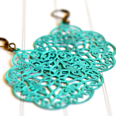 Turquoise Earrings, Hand Painted Filigree Jewellery