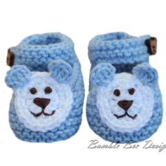 100% Blue Cotton Hand Knitted Booties with Teddy Bear Applique