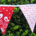 Bird Christmas Bunting - Red & White Christmas Fabrics - Handmade, 3 metres