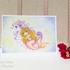Blank Greeting Card Seahorse Unicorn and mermaid girls birthday card