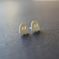 Pac-man ghost earrings. Sterling silver. Studs. Handmade. Contemporary design.