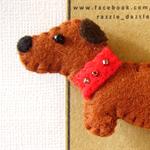 Felt Dog Brooch - Dachshund Dog - Magnet