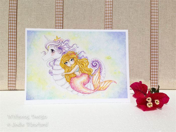 Blank Greeting Card Seahorse Unicorn And Mermaid Girls Birthday Card
