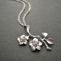 Cherry Blossom Necklace Sterling Silver Chain Flower