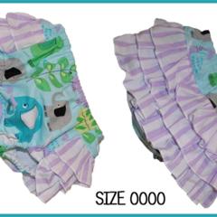 SIZE 0000 - Aqua Elephant Ruffle Bum Panties