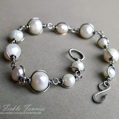 Silver Wrapped Mixed Pearl Bracelet