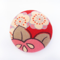 Fabric Button Brooch Pink and Brown Leaf Ume Blossom