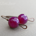 Magenta Jade and Copper Simply Hooked Earrings