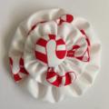 White Candy Cane Double Yoyo Hair Clip