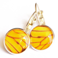 Amber Butterfly Wings Resin Leverback Earrings 12mm FREE SHIPPING