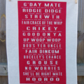 Red Aussie Slang Tea Towel (with translations)