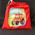 Library Bag - FREE POSTAGE IN AUSTRALIA - Little Red Tractor applique