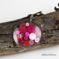 Resin Keyring - Pink Buttons - Bag Tag - Luggage Identifier