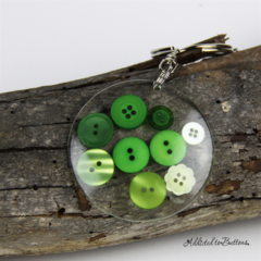 Resin Keyring - Lime Green Buttons - Bag Tag