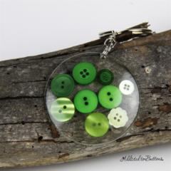 Resin Keyring - Lime Green Buttons - Bag Tag