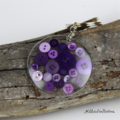 Resin Keyring - Purple Buttons - Bag Tag - Luggage Identifier