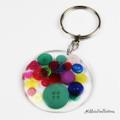 Resin Keyring - Multi Coloured Rainbow - Bag Tag