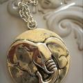1 x elephant charm necklace silver tone round charm other elephants necklaces av