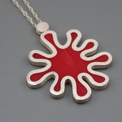 Blood Red Splat Sterling silver and Resin Pendant