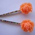 Apricot flower resin hair pins