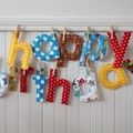 Custom Birthday Banner - fabric happy birthday letters with pegs, string in bag