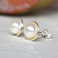 Sterling Silver & AAA Grade 6.5mm Pearl Earrings, Pearl Studs. White Pearl.