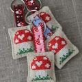 Cross-stitched toadstool, mushroom, linen key ring, keychain, small gift