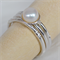 Rustic, cupped Pearl & Sterling Silver stacking ring set - Made to Order - Your