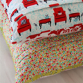 Selvage cushion cover - pink and green
