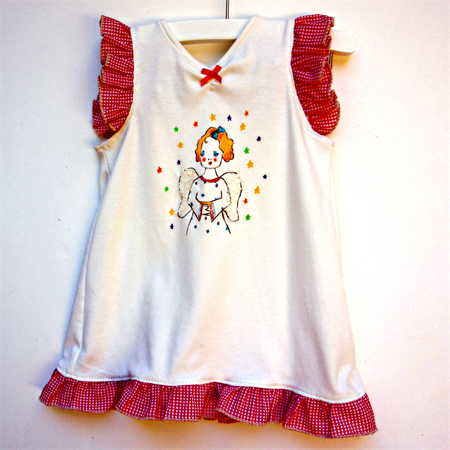 Angel drawing dress with lace and red gingham frills.  Size 4 ready to post.