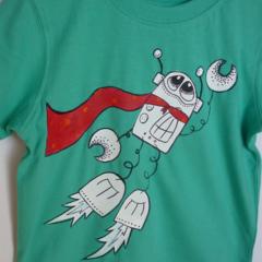 Boys sz 2 Super BADA Aqua/green tshirt BADA and Bing