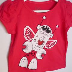 sz 1 tshirt, raspberry red Friends give you wings BADA and Bing