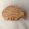 Echidna Brooch in lasercut wood - Unique Australian animal, Australian jewelry
