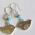 Sterling Silver Earrings with Silver Birds and Arizona Turquoise