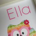 personalised owl collage handmade girl baby pink rainbow pretty newborn gift