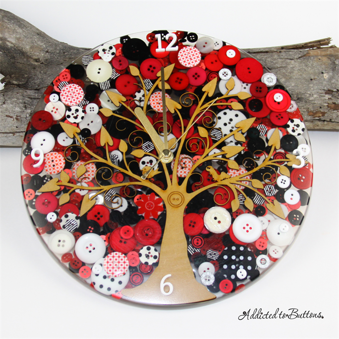 Tick Tock - Red Black and Whit Tree of Life laser cut piece