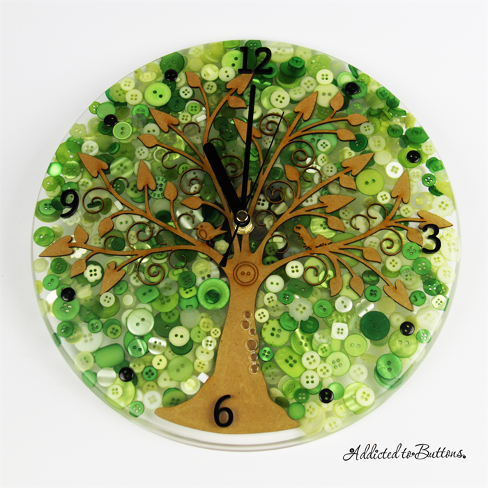 Tick Tock - Green Tree of Life laser cut piece Resin Buttons