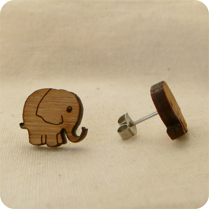 Elephant Studs Elephant Earrings Eco Friendly Laser Cut