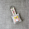 Owl, cross-stitched linen keyring, keychain, peach, pastel, free postage, small